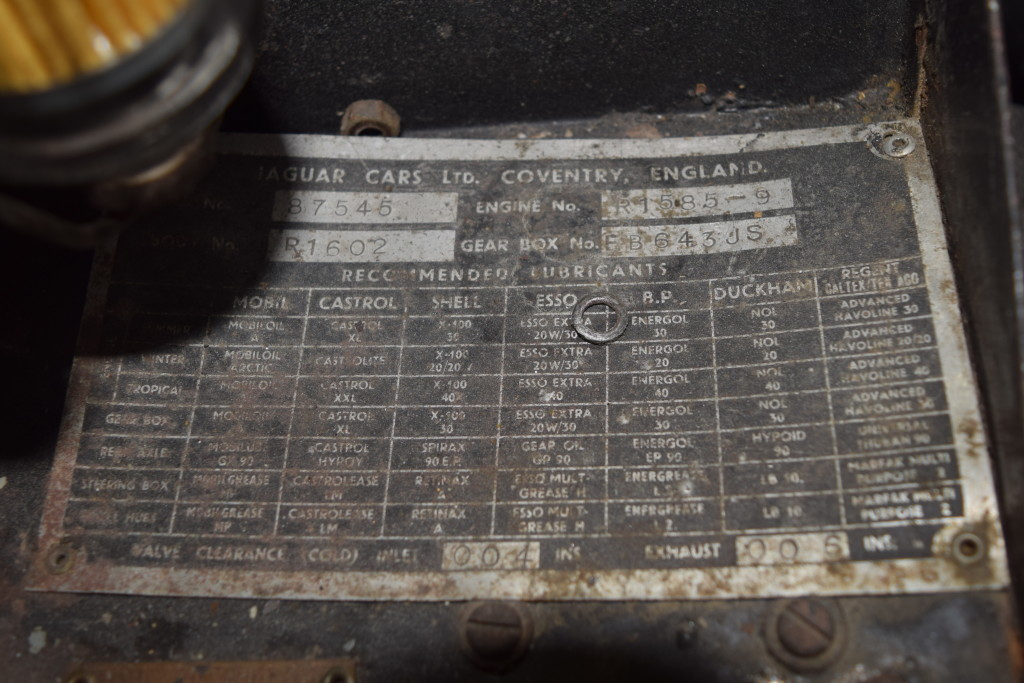 The original Data Plate is still intact, and as you can see, matches all numbers on the Heritage certificate above. The last digit of the chassis number has been omitted so that the new owner may choose to make the car known to the world at their discretion...